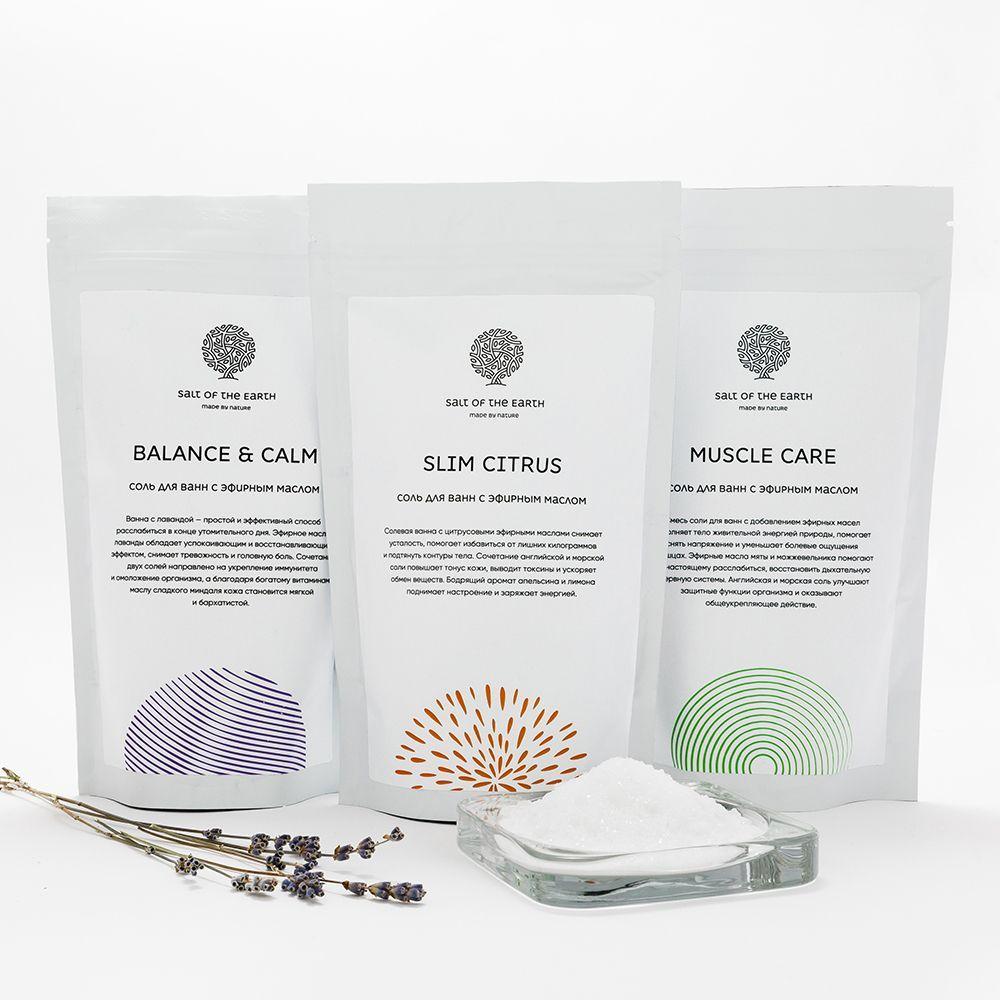 Купить Набор солей с эфирными маслами «Slim Citrus», «Muscle care» и «Balance&Calm», Salt Of The Earth
